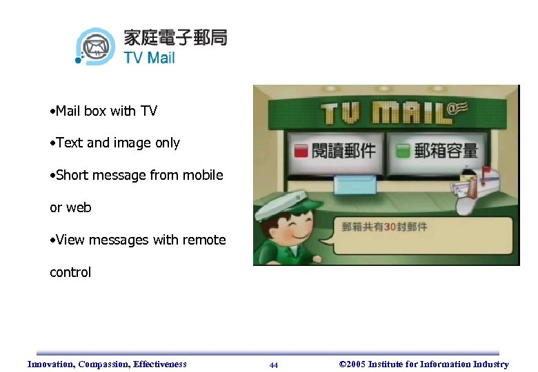 • Mail box with TV • Text and image only • Short message