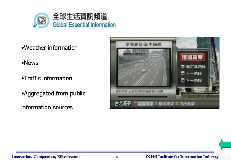 • Weather information • News • Traffic information • Aggregated from public information