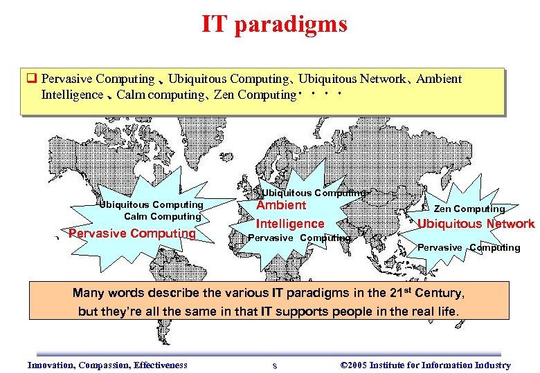 IT paradigms q Pervasive Computing 、 Ubiquitous Computing、 Ubiquitous Network、 Ambient  Intelligence 、 Calm