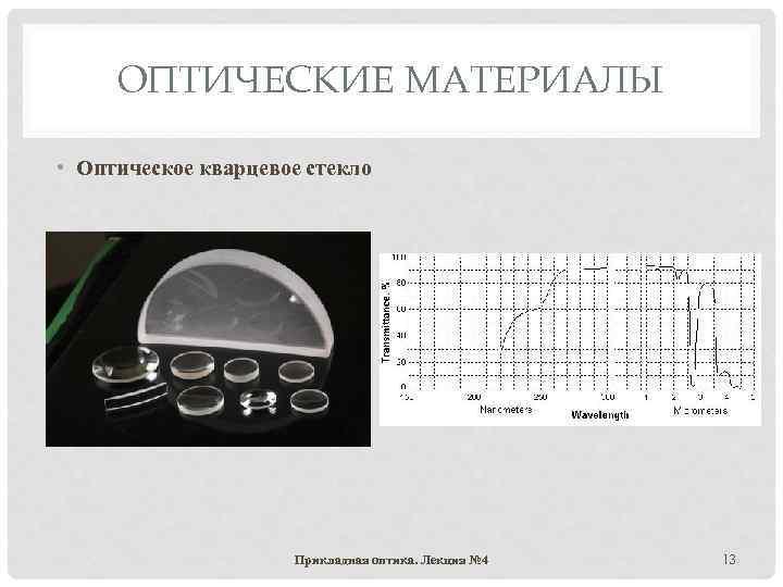 ОПТИЧЕСКИЕ МАТЕРИАЛЫ • Оптическое кварцевое стекло Прикладная оптика. Лекция № 4 13