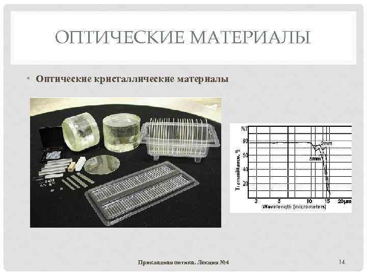 ОПТИЧЕСКИЕ МАТЕРИАЛЫ • Оптические кристаллические материалы Прикладная оптика. Лекция № 4 14