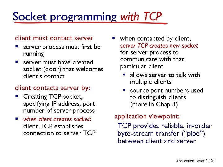 Socket programming with TCP client must contact server § server process must first be