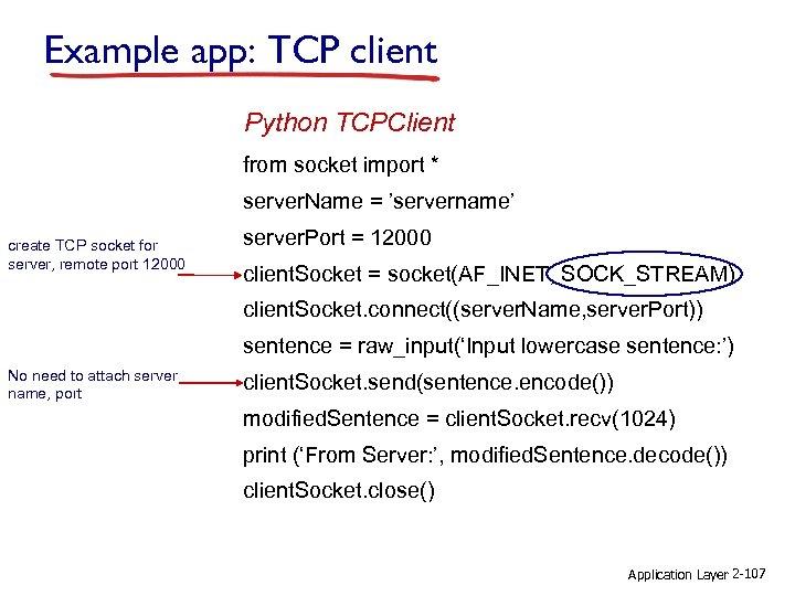 Example app: TCP client Python TCPClient from socket import * server. Name = 'servername'