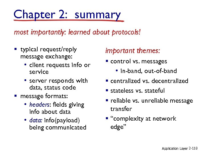 Chapter 2: summary most importantly: learned about protocols! § typical request/reply message exchange: •