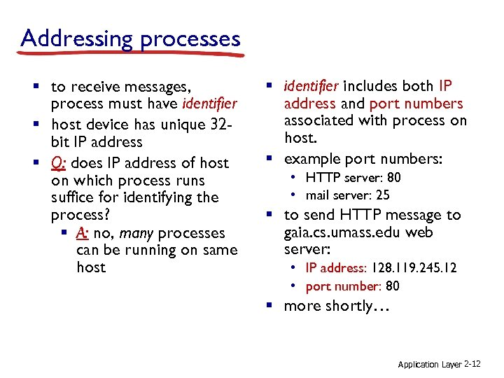 Addressing processes § to receive messages, process must have identifier § host device has