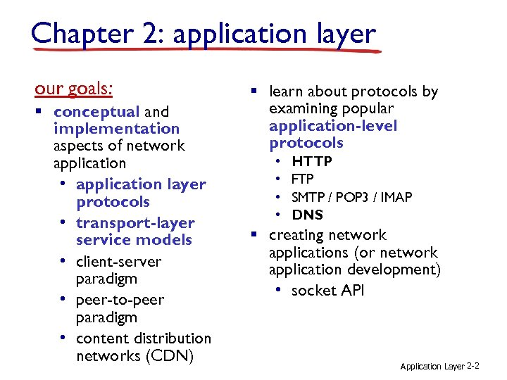 Chapter 2: application layer our goals: § conceptual and implementation aspects of network application
