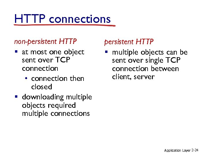 HTTP connections non-persistent HTTP § at most one object sent over TCP connection •