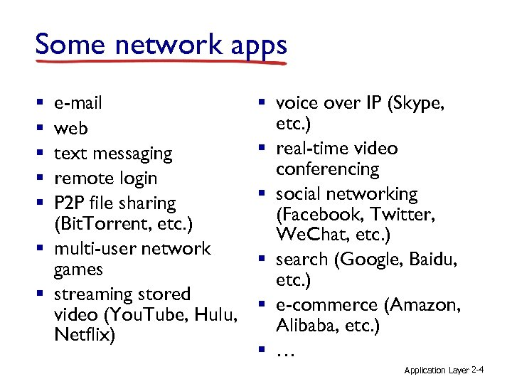 Some network apps e-mail web text messaging remote login P 2 P file sharing