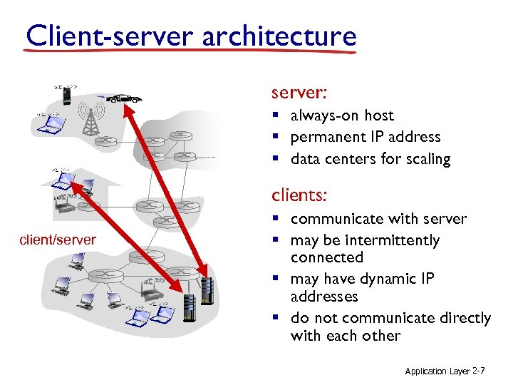 Client-server architecture server: § always-on host § permanent IP address § data centers for