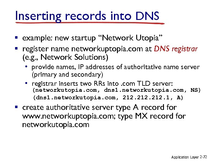 """Inserting records into DNS § example: new startup """"Network Utopia"""" § register name networkuptopia."""