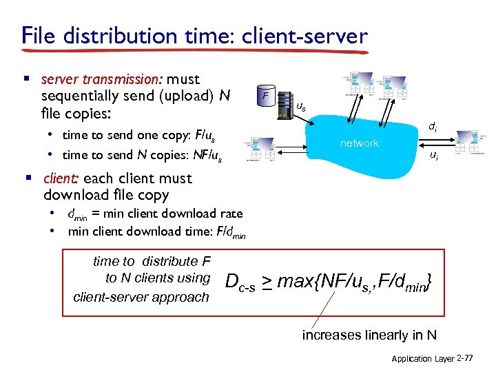 File distribution time: client-server § server transmission: must sequentially send (upload) N file copies:
