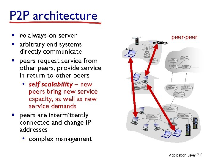 P 2 P architecture § no always-on server § arbitrary end systems directly communicate