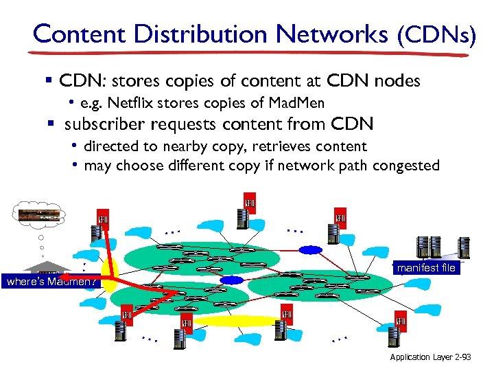 Content Distribution Networks (CDNs) § CDN: stores copies of content at CDN nodes •