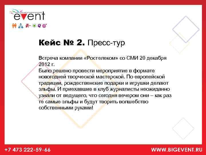 Кейс № 2. Пресс-тур Встреча компании «Ростелеком» со СМИ 20 декабря 2012 г. Было