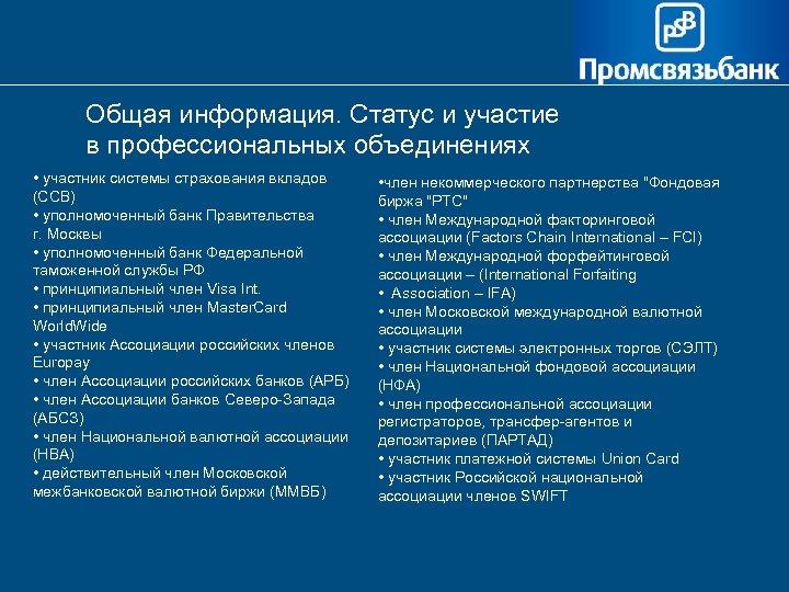 Общая информация. Статус и участие в профессиональных объединениях • участник системы страхования вкладов (ССВ)