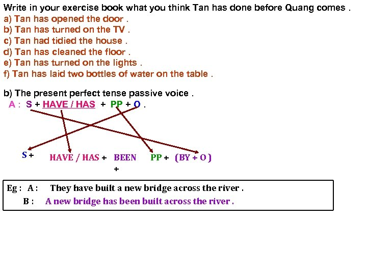 Write in your exercise book what you think Tan has done before Quang comes.