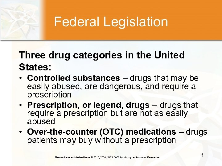 Federal Legislation Three drug categories in the United States: • Controlled substances – drugs