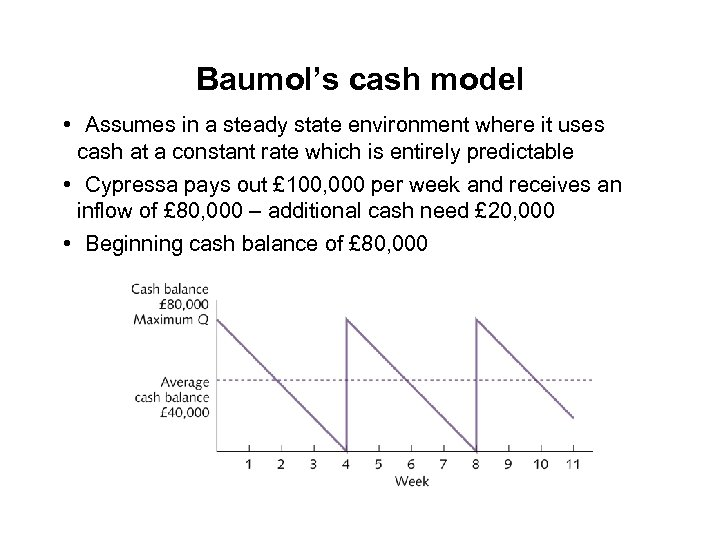 Baumol's cash model • Assumes in a steady state environment where it uses cash