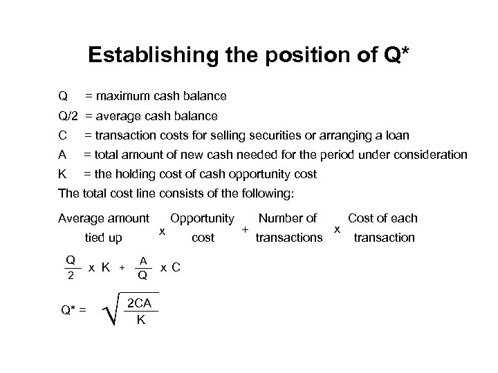 Establishing the position of Q* Q = maximum cash balance Q/2 = average cash