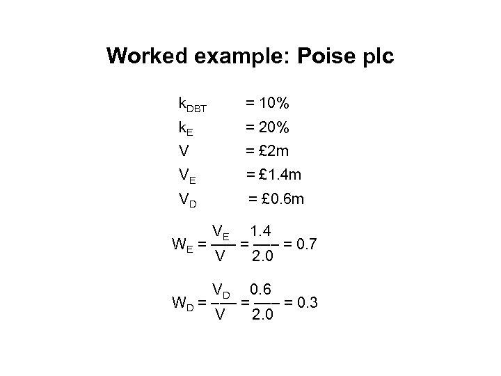 Worked example: Poise plc k. DBT = 10% k. E = 20% V =