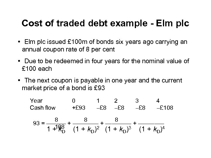 Cost of traded debt example - Elm plc • Elm plc issued £ 100