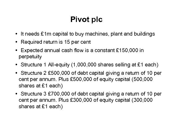 Pivot plc • It needs £ 1 m capital to buy machines, plant and