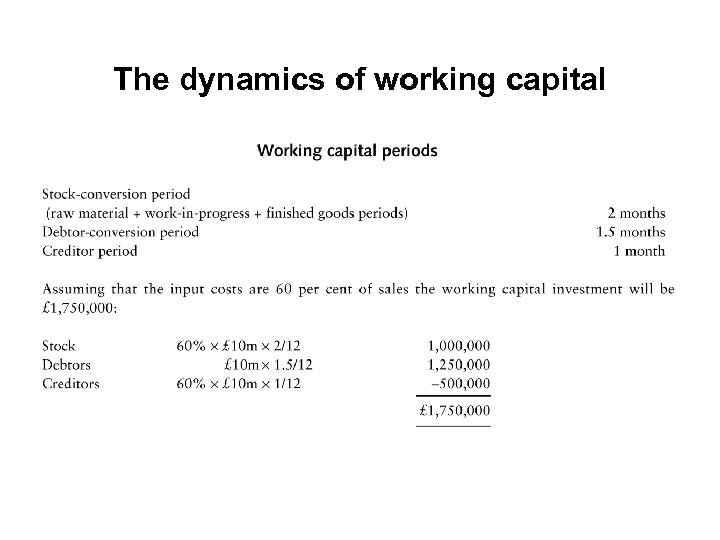 The dynamics of working capital