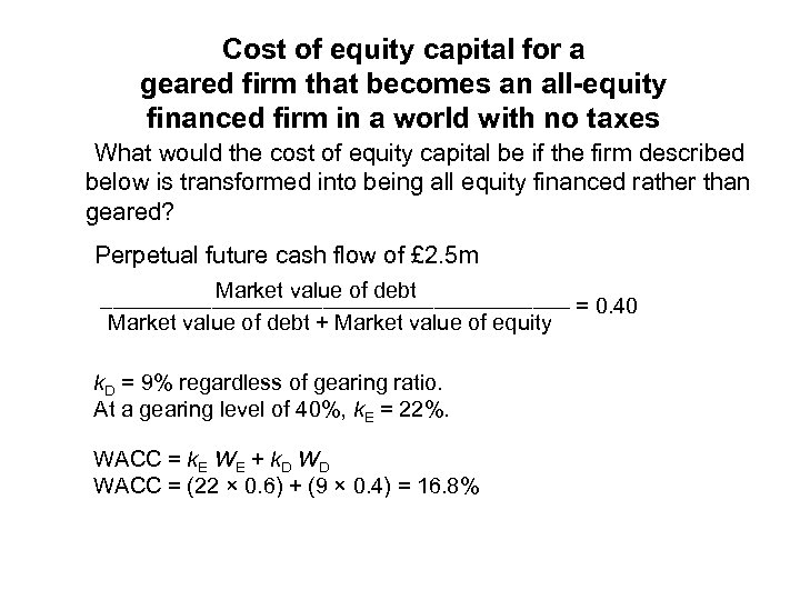 Cost of equity capital for a geared firm that becomes an all-equity financed firm