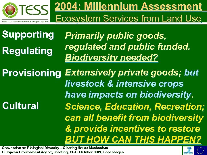 2004: Millennium Assessment Ecosystem Services from Land Use Supporting Regulating Primarily public goods, regulated