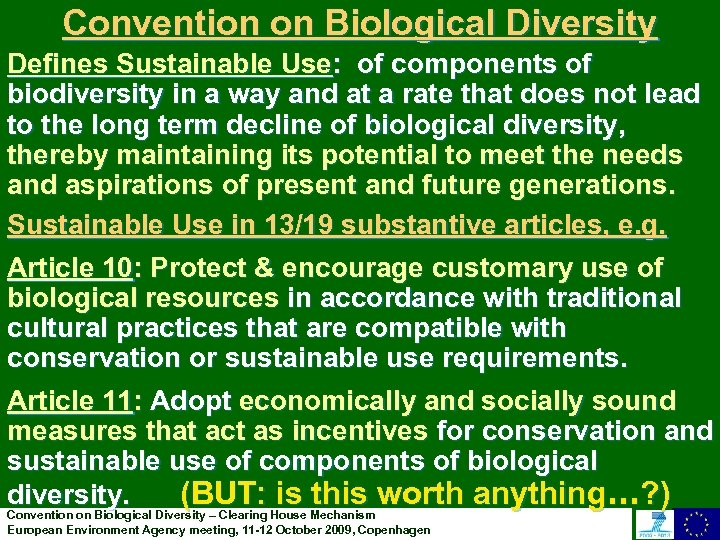 Convention on Biological Diversity Defines Sustainable Use: of components of biodiversity in a way