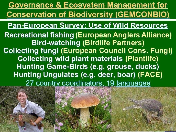 Governance & Ecosystem Management for Conservation of Biodiversity (GEMCONBIO) Pan-European Survey: Use of Wild