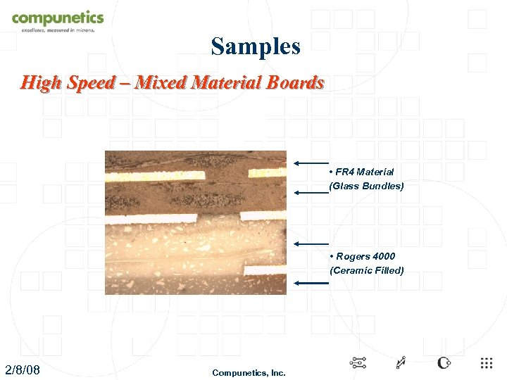 Samples High Speed – Mixed Material Boards • FR 4 Material (Glass Bundles) •