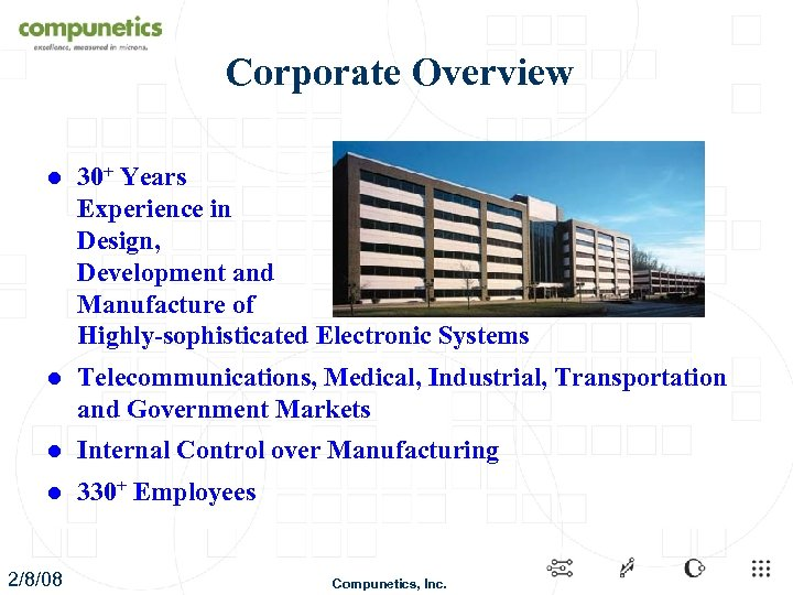 Corporate Overview l 30+ Years Experience in Design, Development and Manufacture of Highly-sophisticated Electronic