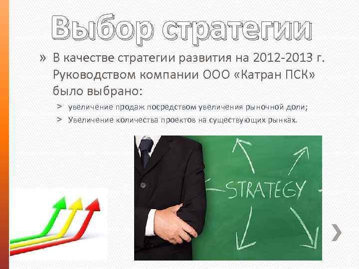 Выбор стратегии » В качестве стратегии развития на 2012 -2013 г. Руководством компании ООО