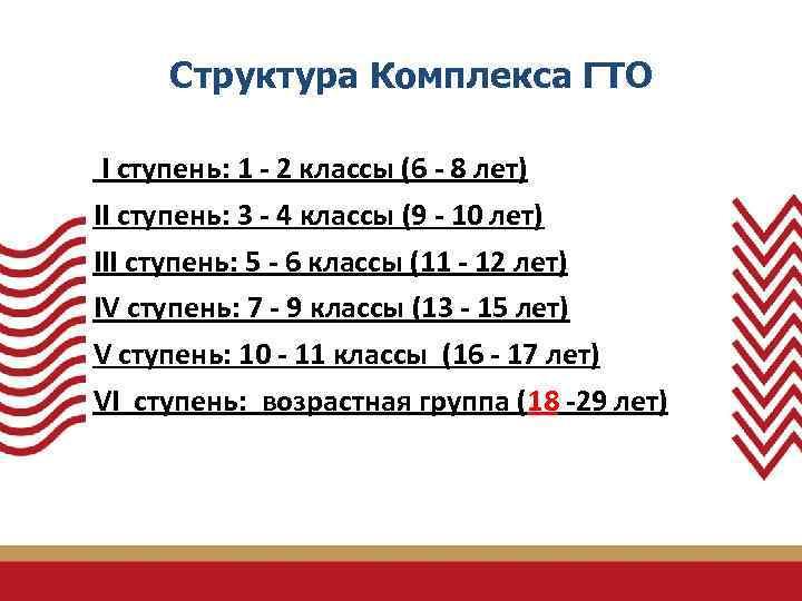 Структура Комплекса ГТО I ступень: 1 - 2 классы (6 - 8 лет)