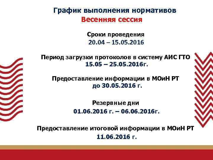 График выполнения нормативов Весенняя сессия Сроки проведения 20. 04 – 15. 05. 2016 Период