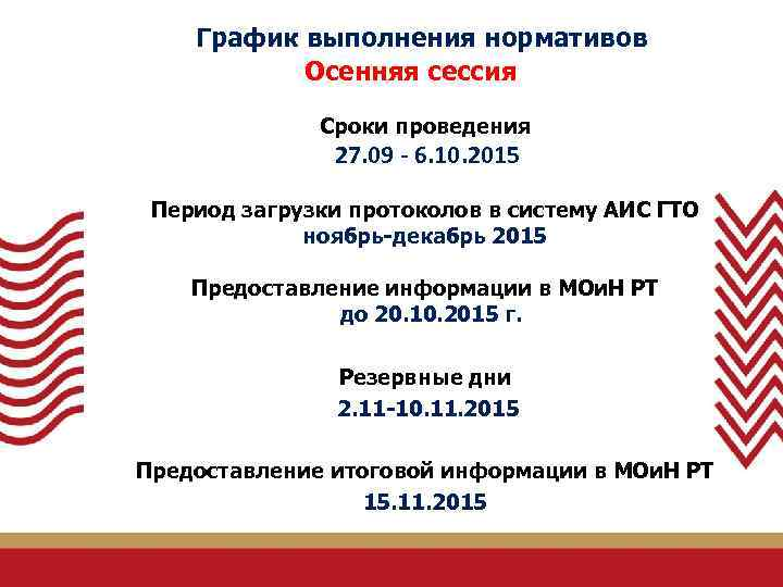 График выполнения нормативов Осенняя сессия Сроки проведения 27. 09 - 6. 10. 2015 Период