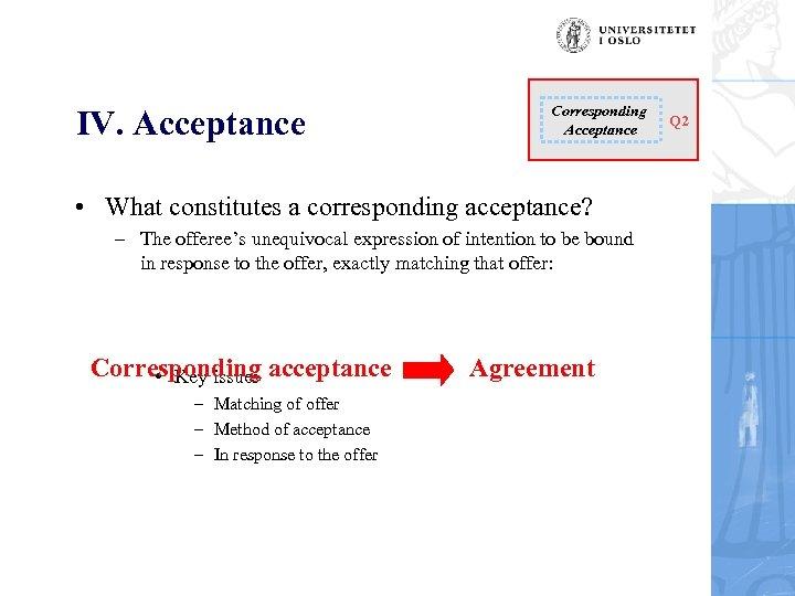 IV. Acceptance Corresponding Acceptance • What constitutes a corresponding acceptance? – The offeree's unequivocal