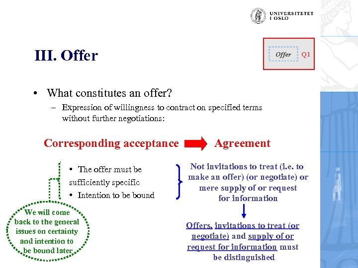 III. Offer Q 1 • What constitutes an offer? – Expression of willingness to