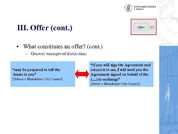 III. Offer (cont. ) Offer Q 1 • What constitutes an offer? (cont. )