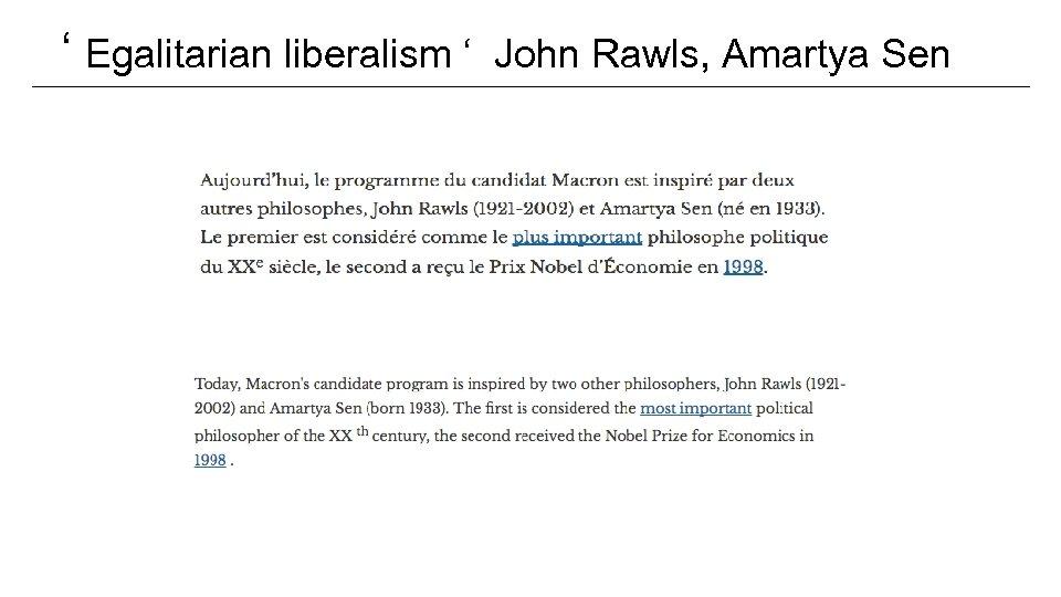 ' Egalitarian liberalism ' John Rawls, Amartya Sen