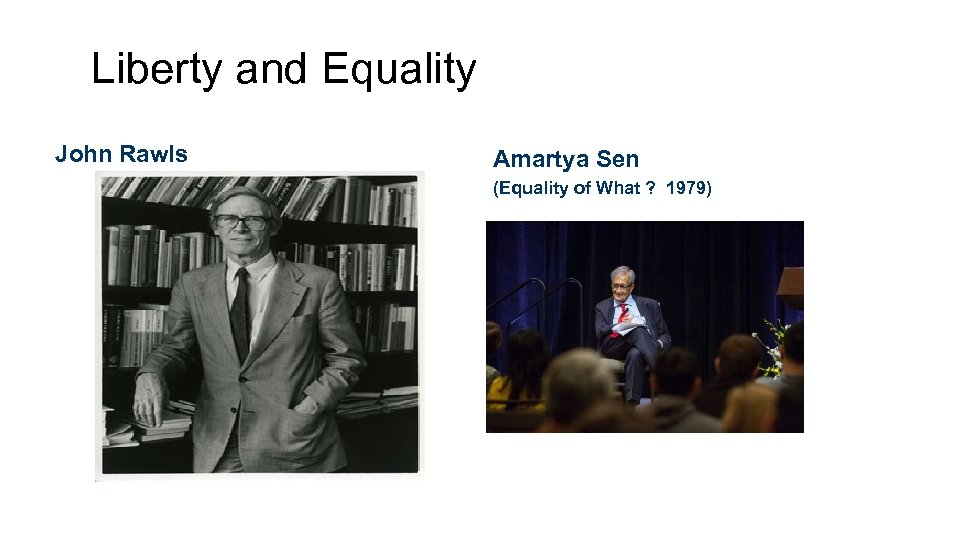 Liberty and Equality John Rawls Amartya Sen (Equality of What ? 1979)