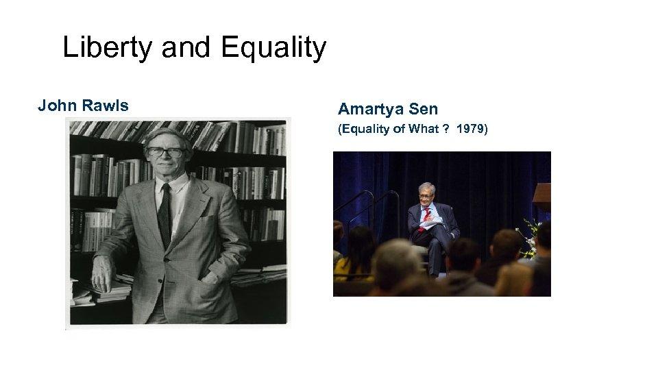 Liberty and Equality John Rawls Amartya Sen (Equality of What ? 1979)