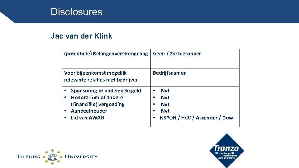 Disclosures Jac van der Klink (potentiële) Belangenverstrengeling Geen / Zie hieronder Voor bijeenkomst mogelijk