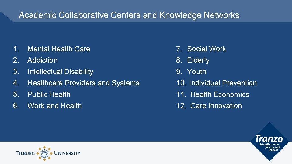 Academic Collaborative Centers and Knowledge Networks 1. Mental Health Care 7. Social Work 2.