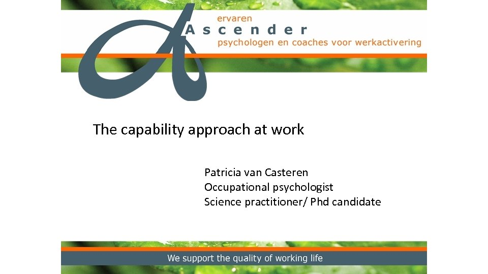 The capability approach at work Patricia van Casteren Occupational psychologist Science practitioner/ Phd candidate