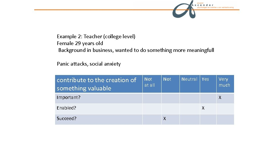 Example 2: Teacher (college level) Female 29 years old Background in business, wanted to