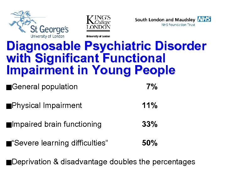 Diagnosable Psychiatric Disorder with Significant Functional Impairment in Young People g. General population g.