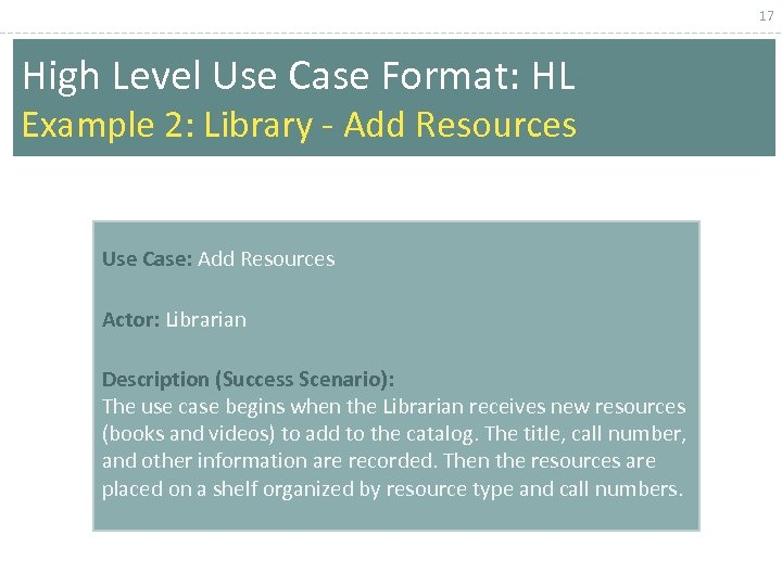 17 High Level Use Case Format: HL Example 2: Library - Add Resources Use