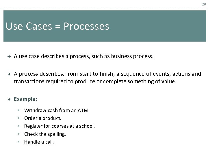 28 Use Cases = Processes A use case describes a process, such as business